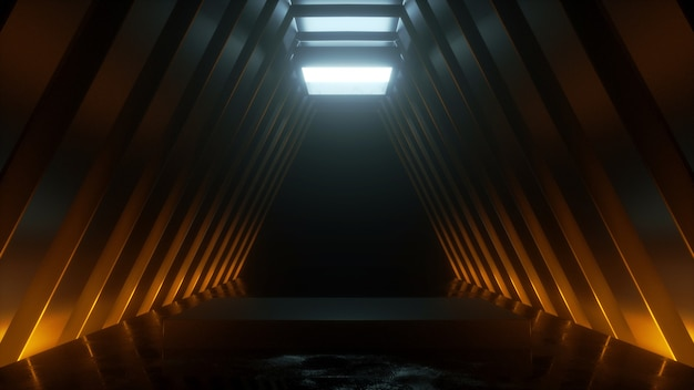 Technological tunnel with a podium stand with a warm and cold glow  3d rendering
