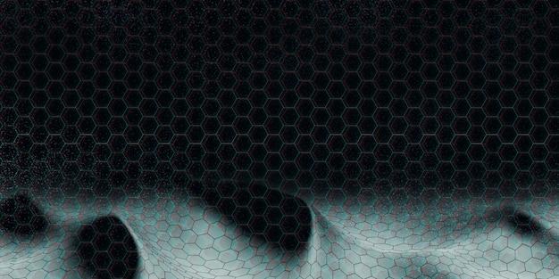 기술 3d 그림 추상 육각 풍경, 대형 데이터베이스 또는 네트워크를 연결하는 개념