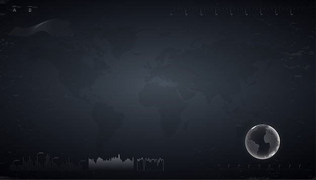 Technology abstract background. dark sci fi futuristic user interface with world map, analyzing data and graphs. hud style illustration.
