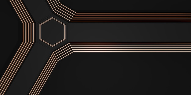 Technology abstract background strong modern scene concept gold and black 3d illustration