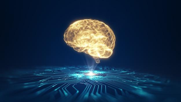 기술 인공 지능 (ai) 두뇌 애니메이션 디지털 데이터 개념. 빅 데이터 흐름 분석. 딥 러닝 현대 기술. 미래형 사이버 기술 혁신. 빠른 디지털 네트워크.