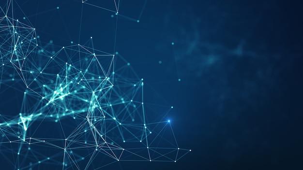 Технологический фон. аннотация подключенных точек и линий на синем фоне.