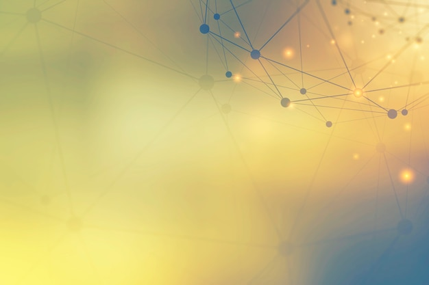 Технология фон из точек и линий связи иконки на желтом фоне.