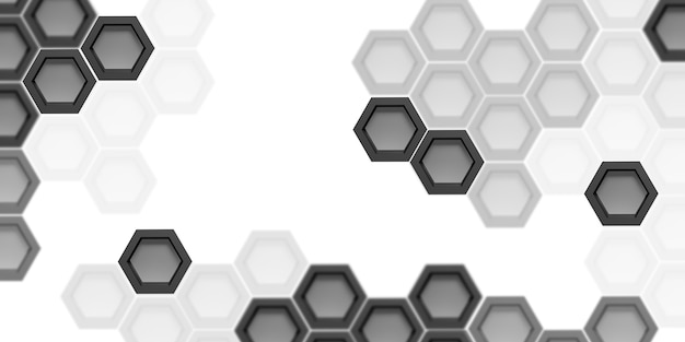 Technology background hexagon abstract black and white 3d illustration