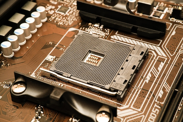 Technology background with computer server semiconductor processors cpu concept blue circuit board texture