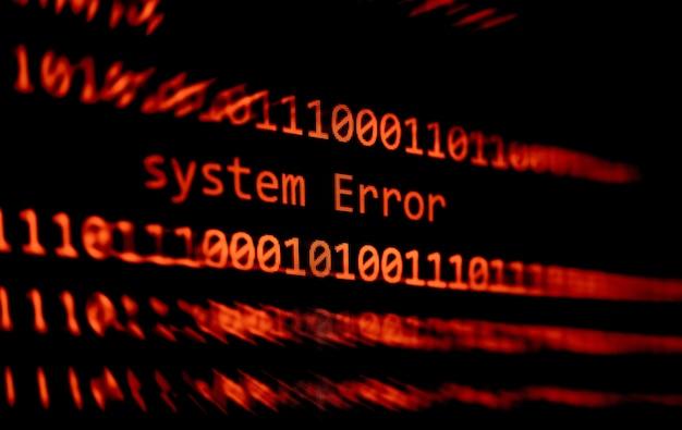 Technology binary code number data alert system error message on display screen