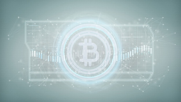 Technology bitcoin icon on a circle isolated on a 3d rendering