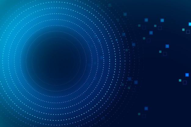 디지털 변환 개념의 기술 원 파란색 배경