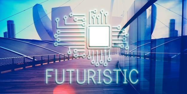Concetto di rete di innovazione del processore del circuito tecnologico