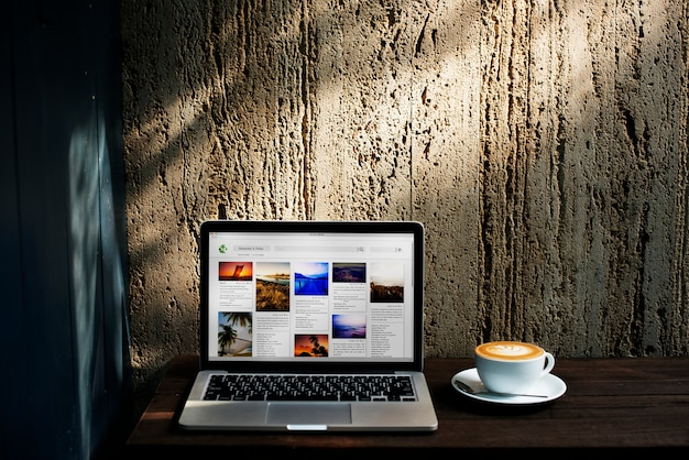 Technology coffee internet beverage cafe data concept