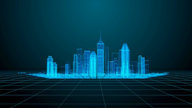 Technology and communication theme. modern city wireframe render