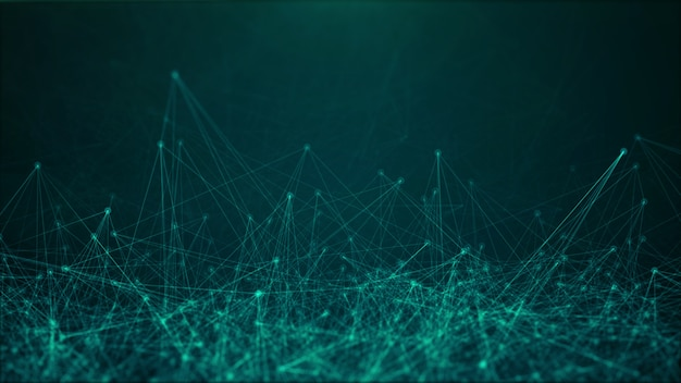 点と線の混沌としたインターネット接続、濃い緑色の背景の3dレンダリング構造と技術概念図