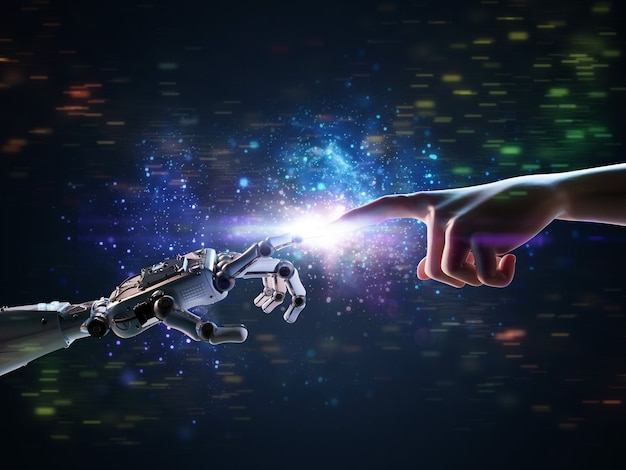 Technology connection concept with 3d rendering robot hand connect to human hand