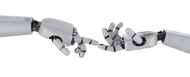 Концепция технологического соединения с 3d-рендерингом, две руки робота указывают пальцем на другой изолированный