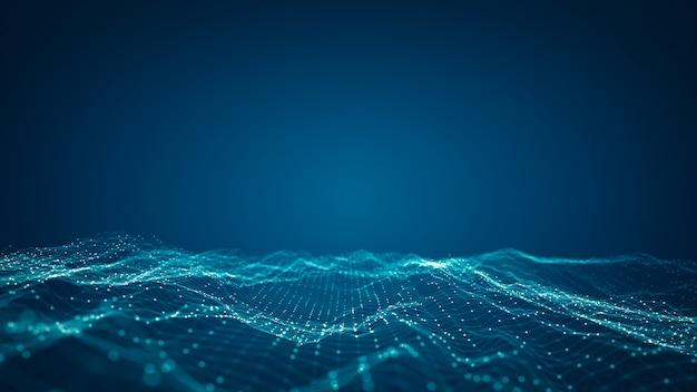 技術接続デジタルビッグデータの概念。青のデジタルデータフローの概要。