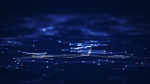 기술 연결 디지털 데이터 및 빅 데이터 개념입니다. 추상 라인과 점은 배경을 연결합니다. 미래의 모양. 컴퓨터 생성 추상적인 배경입니다. 3d 렌더링.
