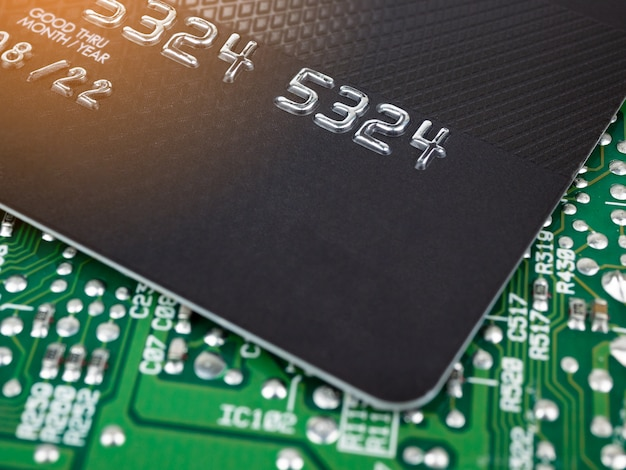 Technology credit card on printed board circuit