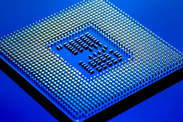 Technology cyber electronic concept. cpu ram computer on blue light background