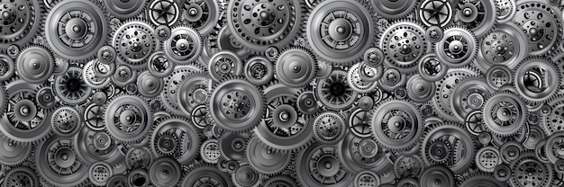 Technology development concept. background in the form of a banner from various mechanisms. gears in motion. concept for design and packaging. 3d image.