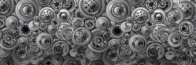 기술 개발 개념입니다. 다양한 메커니즘에서 배너 형태의 배경. 움직이는 기어. 디자인 및 포장에 대한 개념입니다. 3d 이미지.