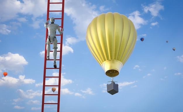 Technology development concept with 3d rendering robot climb red ladder