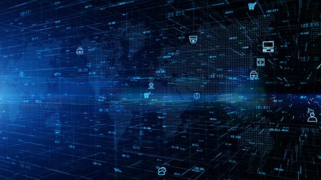 기술 디지털 데이터 네트워크 연결 및 사이버 보안 개념