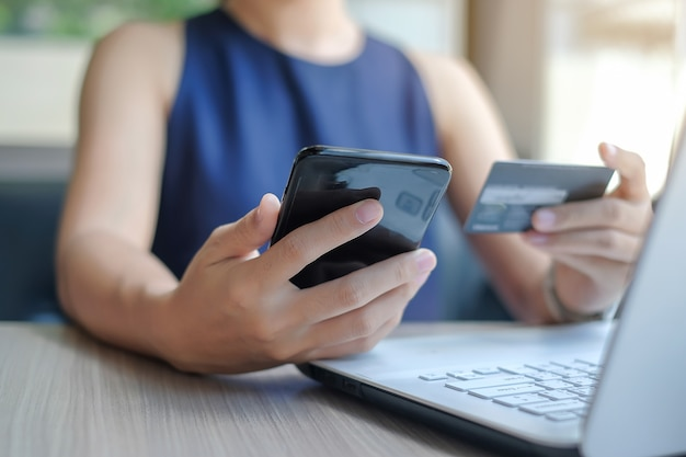 Technology, ecommerce and online payment concept