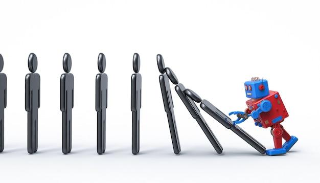 Концепция технологического эффекта с 3d-рендерингом роботизированной руки в домино