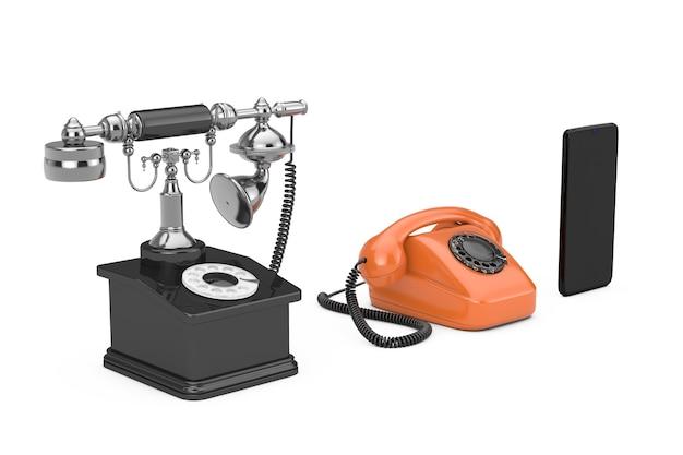 Концепция развития технологий. прогресс от ретро поворотного телефона к мобильному телефону на белом фоне. 3d рендеринг