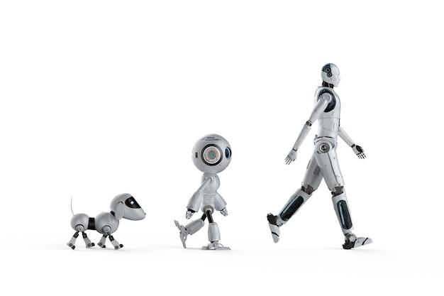 Концепция эволюции технологий с 3d-рендерингом собачьего робота, мини-робота и киборга Premium Фотографии