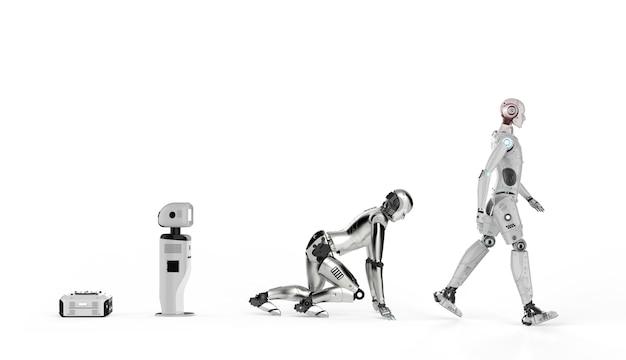 Эволюция технологий с роботом-помощником на складе и киборгом