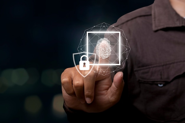 Technology fingerprint scan provides security. connection network. business technology safety concept and business communication concept.