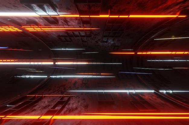 Технология светящийся плазменный двигатель трубка туннель инопланетный космический корабль фон 3d-рендеринг