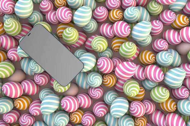 テクノロジーハッピーイースター、スマートフォン、色付きイースターエッグ
