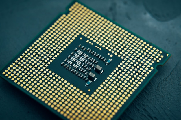 Technology innovation concept closeup of cpu chip computer processor selective focus