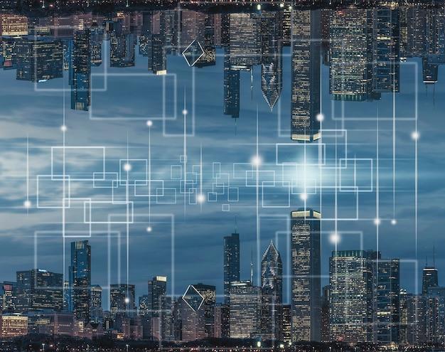 テクノロジーモノのインターネット上面図シカゴ都市景観川側米国