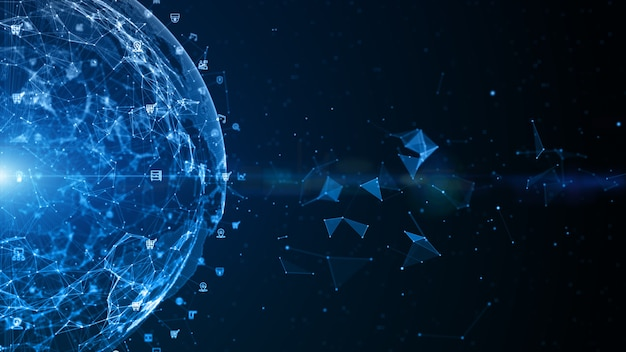 テクノロジーネットワークデータ接続、デジタルデータネットワークとサイバーセキュリティ、未来的なビジネスグローバルネットワークの背景概念