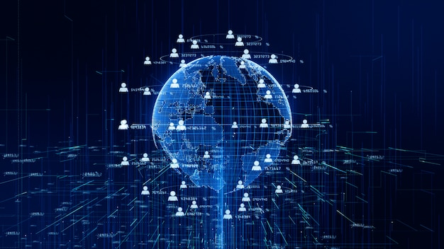 Technology network data connection, digital data network and cyber security concept. earth element furnished by nasa.