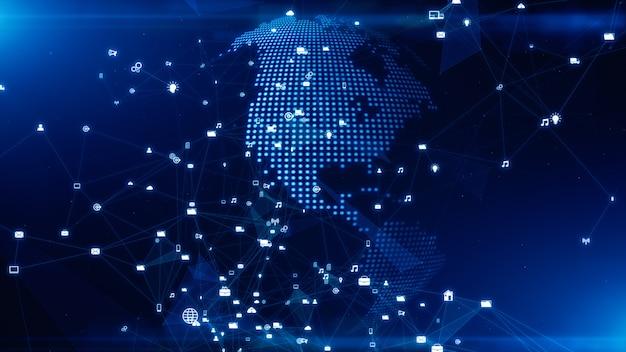 Технология сети передачи данных, цифровая сеть и концепция кибербезопасности.