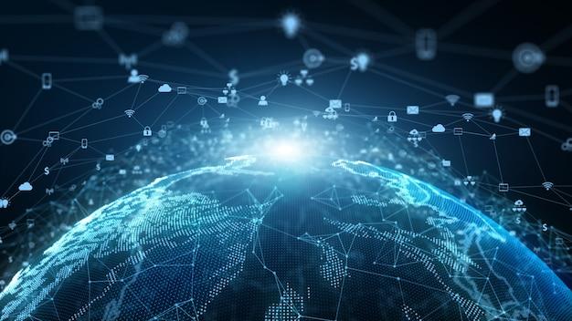 テクノロジーネットワークデータコネクションネットワークマーケティングとサイバーセキュリティの概念。