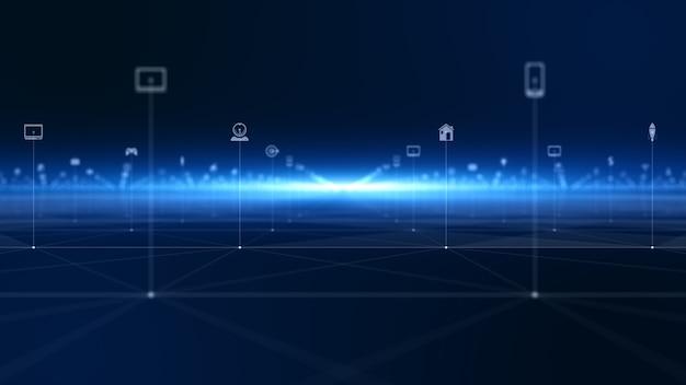 テクノロジーネットワークデジタルデータ接続とデジタルデータネットワーク保護。将来の技術ネットワークのコンセプト。