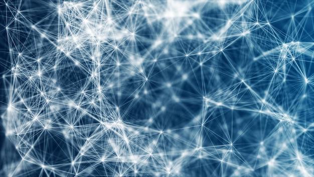 기술 다각형 파란색 배경 점과 선으로 연결된 추상 낮은 폴리