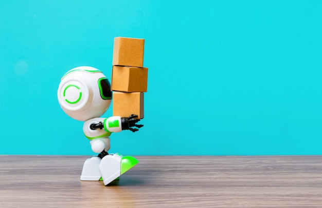 Technology robot holding industry the box or robots working instead of humans