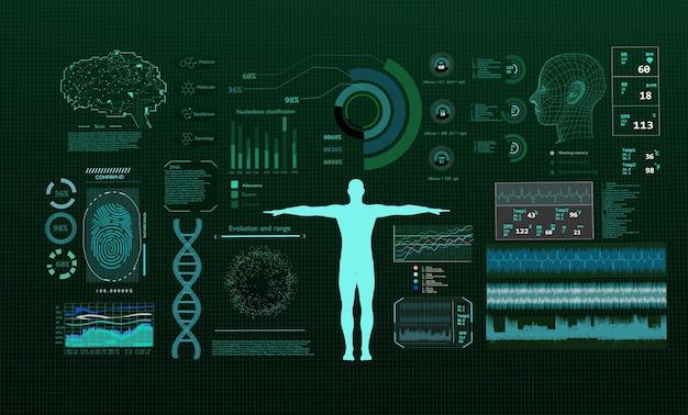 モニター上の未来の技術科学概念dna。 3dレンダリング