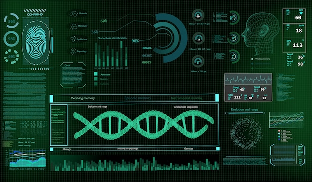 モニターの背景に未来的なテクノロジーサイエンスコンセプトdna。3dレンダリング