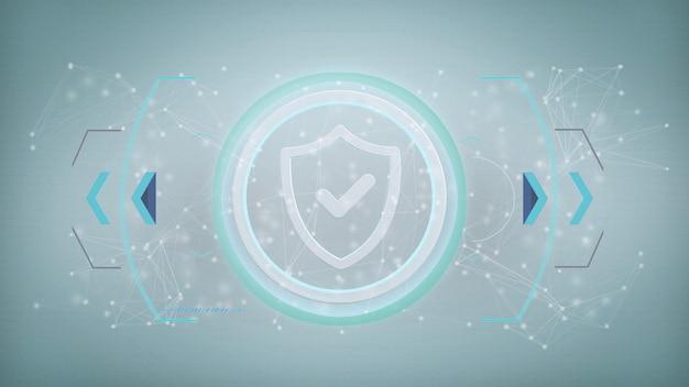 Значок технологии безопасности на изолированном круге