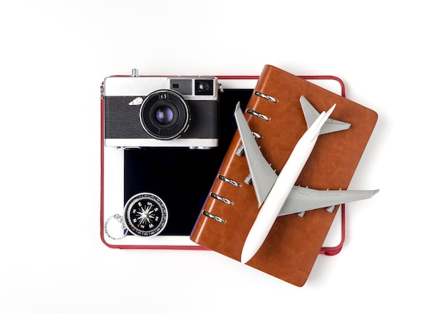 Technology travel objects isolated on white background