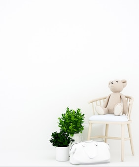 Teddy bear on armchair and bag  white background for artwork ,