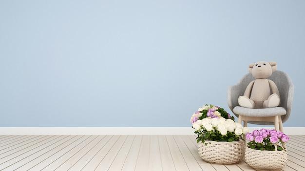Teddy bear on armchair and flower in light blue room r