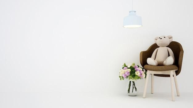 Teddy bear on armchair and flowers